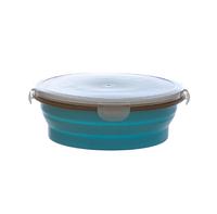 Складной круглый силиконовый контейнер 1000 мл. Цвет голубой