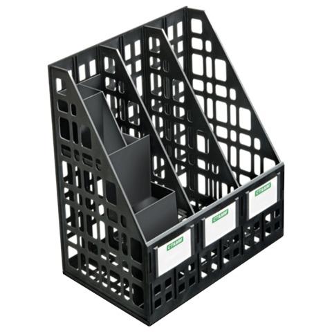 Лоток вертикальный СТАММ, 3 отделения с органайзером, черный