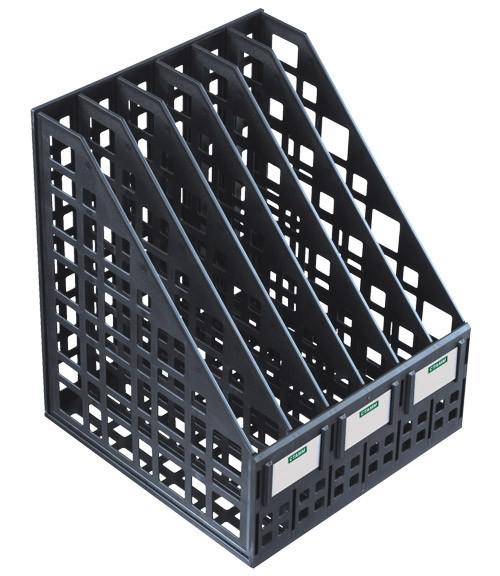 Лоток вертикальный СТАММ, 6 отделений, черный