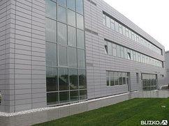 Фасад из керамогранита с установкой конструкций