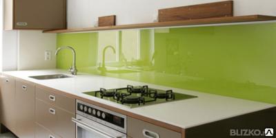 Кухонный фартук из стекла, производство, доставка, монтаж, фото 2
