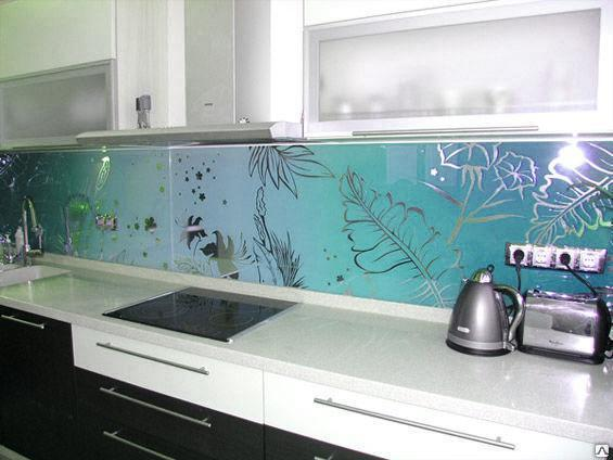 Стеклянный фартук на кухню, фото 2