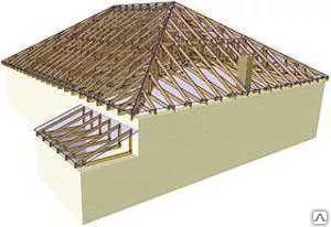 Вальмовая  крыша с козырьком