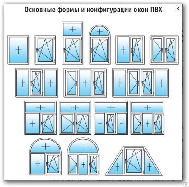 ПВХ окна  различной конфигурации
