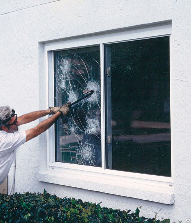 ПВХ окна  с укрепленным стеклопакетом