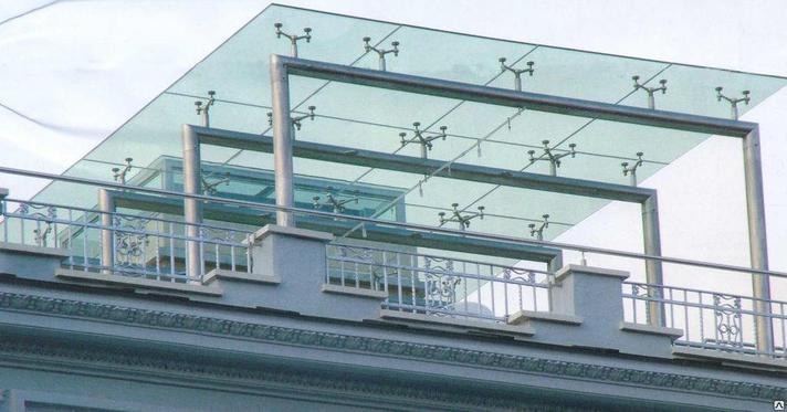 Навес из стекла с  металлокаркасом, фото 2