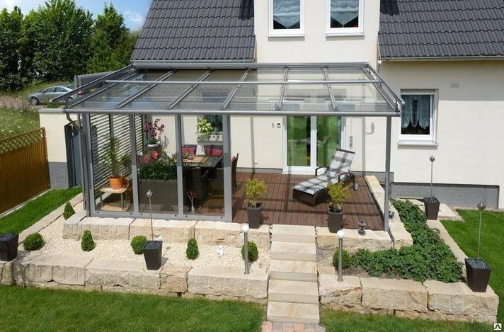 Навес из стекла  пристроенный к дому, фото 2