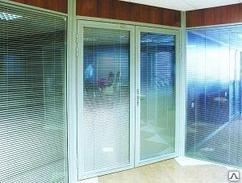 Алюминиевые двери двойной витраж
