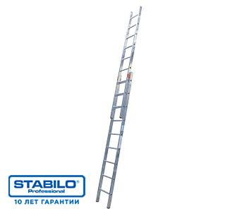 Двухсекционная раздвижная лестница с перекладинами 18 пер. KRAUSE STABILO