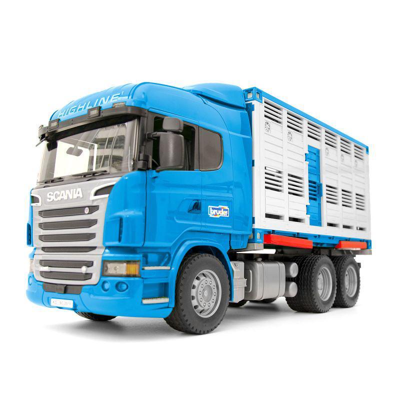 Брудер фургон Bruder Фургон Scania для перевозки животных с коровой