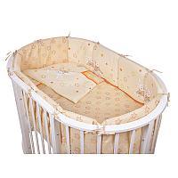 Комплект для овальной кроватки Pituso (Питусо) Зайки, 6 предметов, кремовый