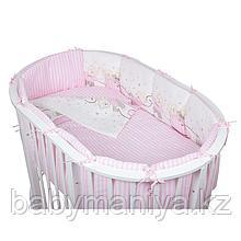 Комплект для овальной кроватки Pituso (Питусо) Мишки, 6 предметов, розовый