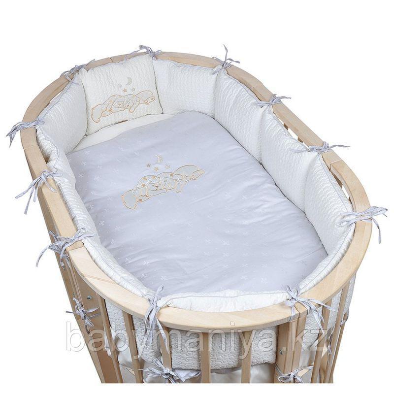 Комплект для овальной кроватки Pituso (Питусо) Звездочка, 6 предметов(борт-подушка), серый