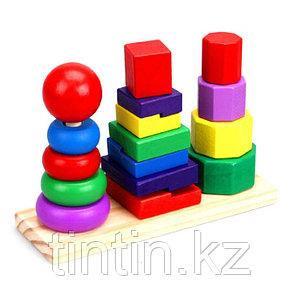 Деревянная пирамидка 3 в 1