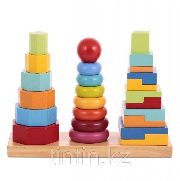 Деревянная пирамидка 3 в 1 (большая)