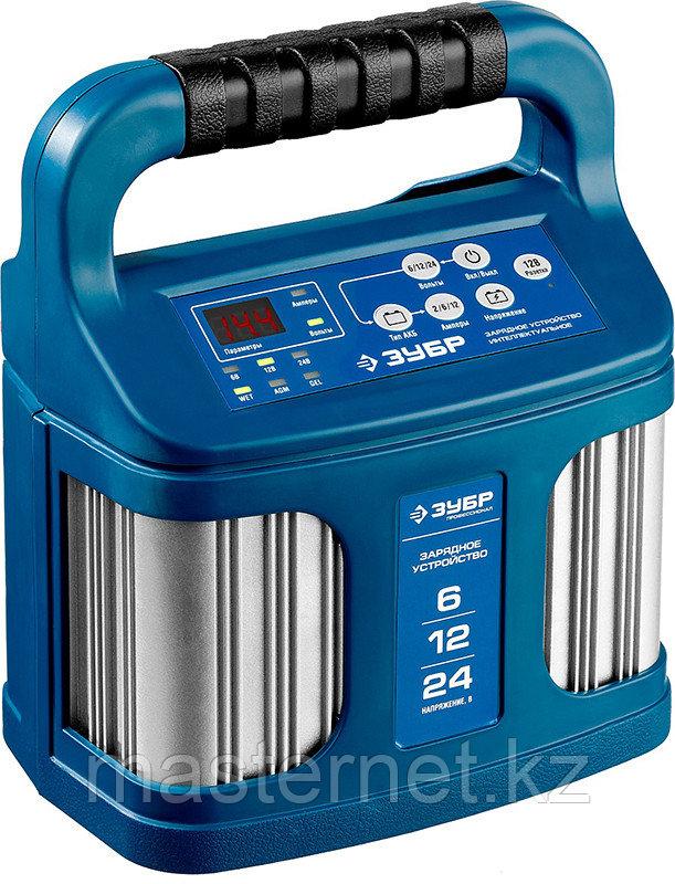 """Зарядное устройство для аккумуляторов 12 А, интеллектуальное, 240 А/ч, 6/12/24 В, 12А, ЗУБР """"ПРОФИ"""" 59305 - фото 1"""