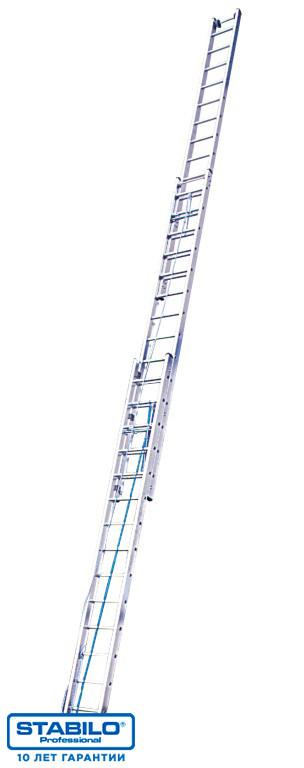 Трехсекционная лестница с перекладинами, выдвигаемая тросом 3х16 пер. KRAUSE STABILO