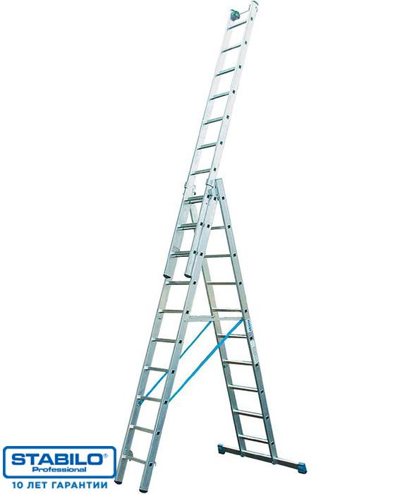 Универсальная лестница с перекладинами, трехсекционная 3х10 пер. KRAUSE STABILO