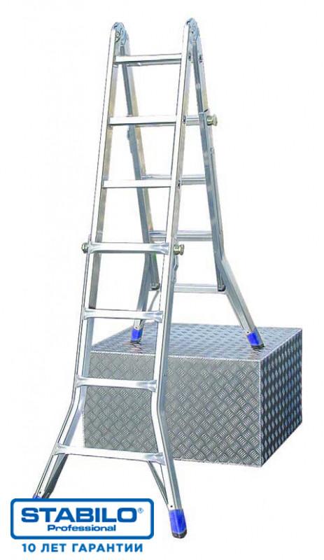 Шарнирная телескопическая лестница с перекладинами 4х4 пер. KRAUSE STABILO
