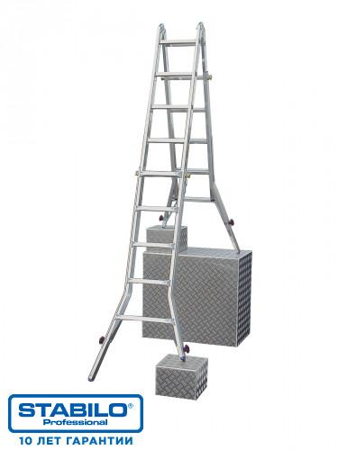 Шарнирная телескопическая лестница с перекладинами и 4 удлинителями боковин 4х5 пер. KRAUSE STABILO