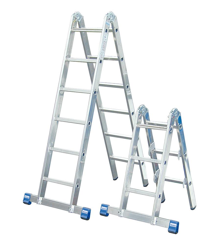 Комбинированная шарнирная лестница с перекладинами 2х3 + 2х6 пер.KRAUSE STABILO
