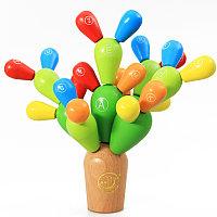 Деревянная развивающая игра - «Балансирующий кактус»