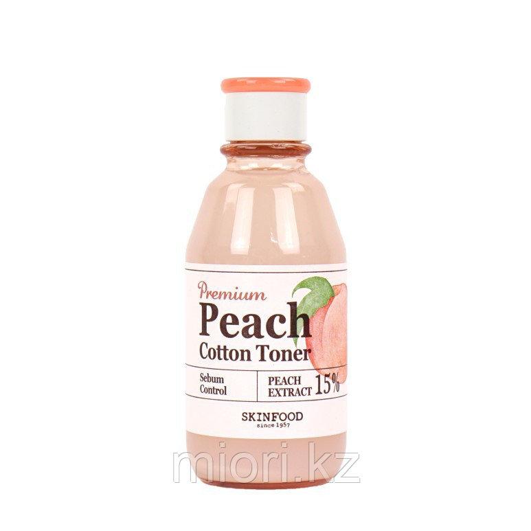 SKINFOOD Premium Peach Cotton Toner Тонер с экстрактом персика для контроля жирности кожи