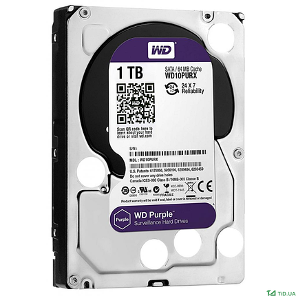 Western Digital Жесткий диск для видеонаблюдения HDD 1Tb WD10PURZ, фото 2
