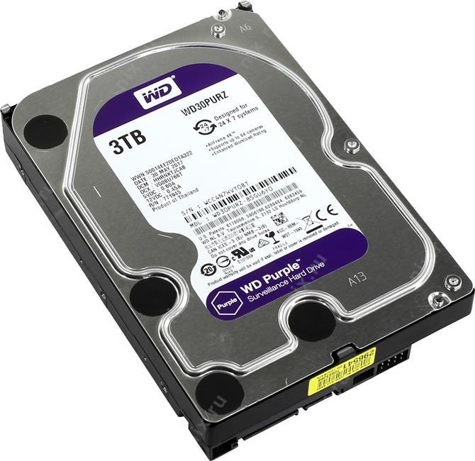 Western Digital Жесткий диск для видеонаблюдения HDD 3Tb WD30PURZ