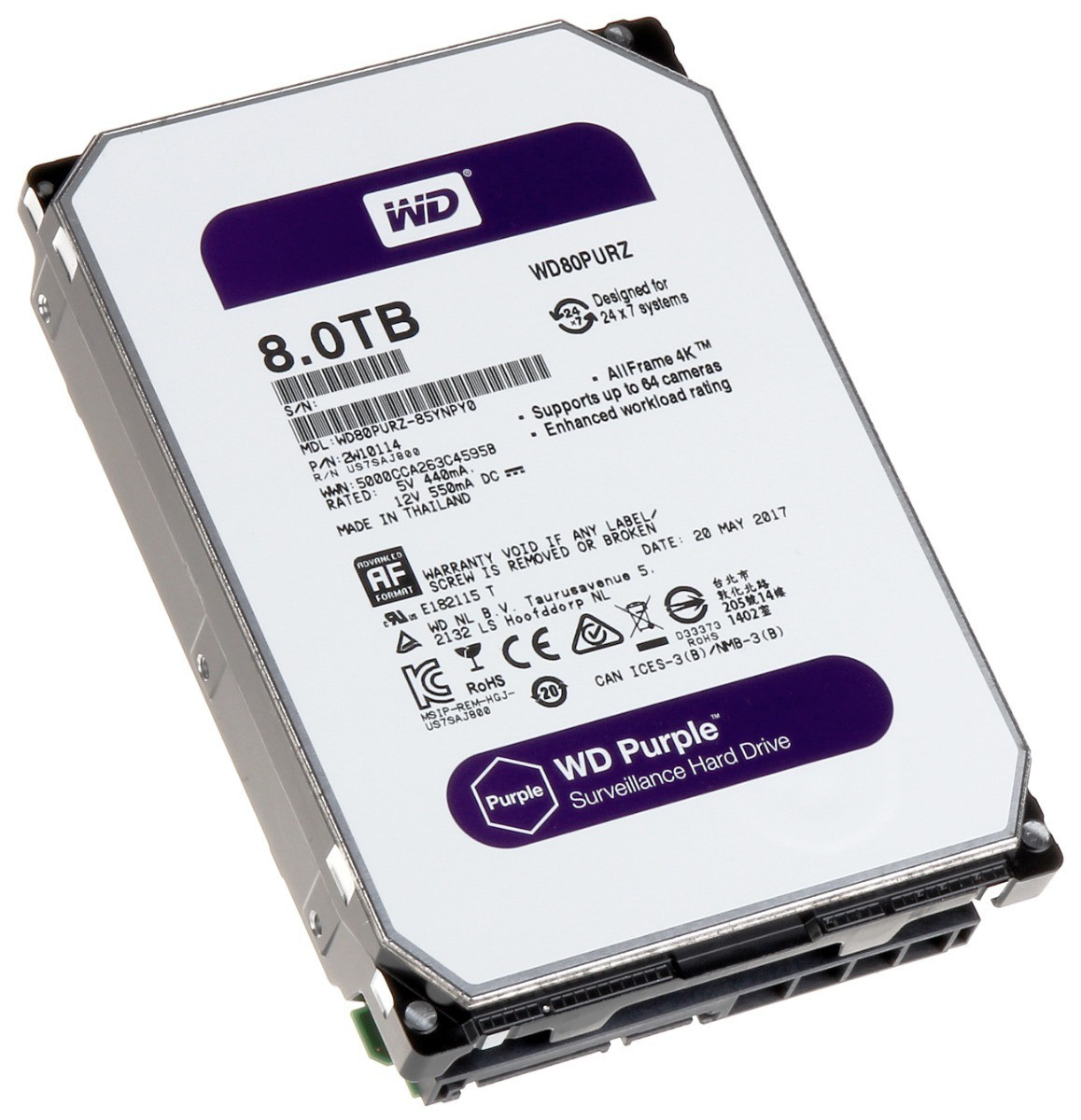 Western Digital Жесткий диск для видеонаблюдения HDD 8Tb WD80PURZ