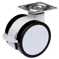 Мебельный ролик, со стопором,  D50 мм,  хром/черный, с крепежной пластиной, фото 1