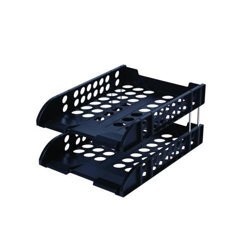 Лоток горизонтальный DELI, 2-х рядный, пластик, черный