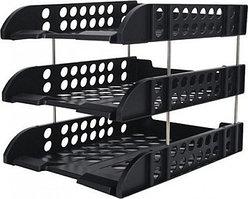 Лоток горизонтальный DELI, 3-х рядный, пластик, черный