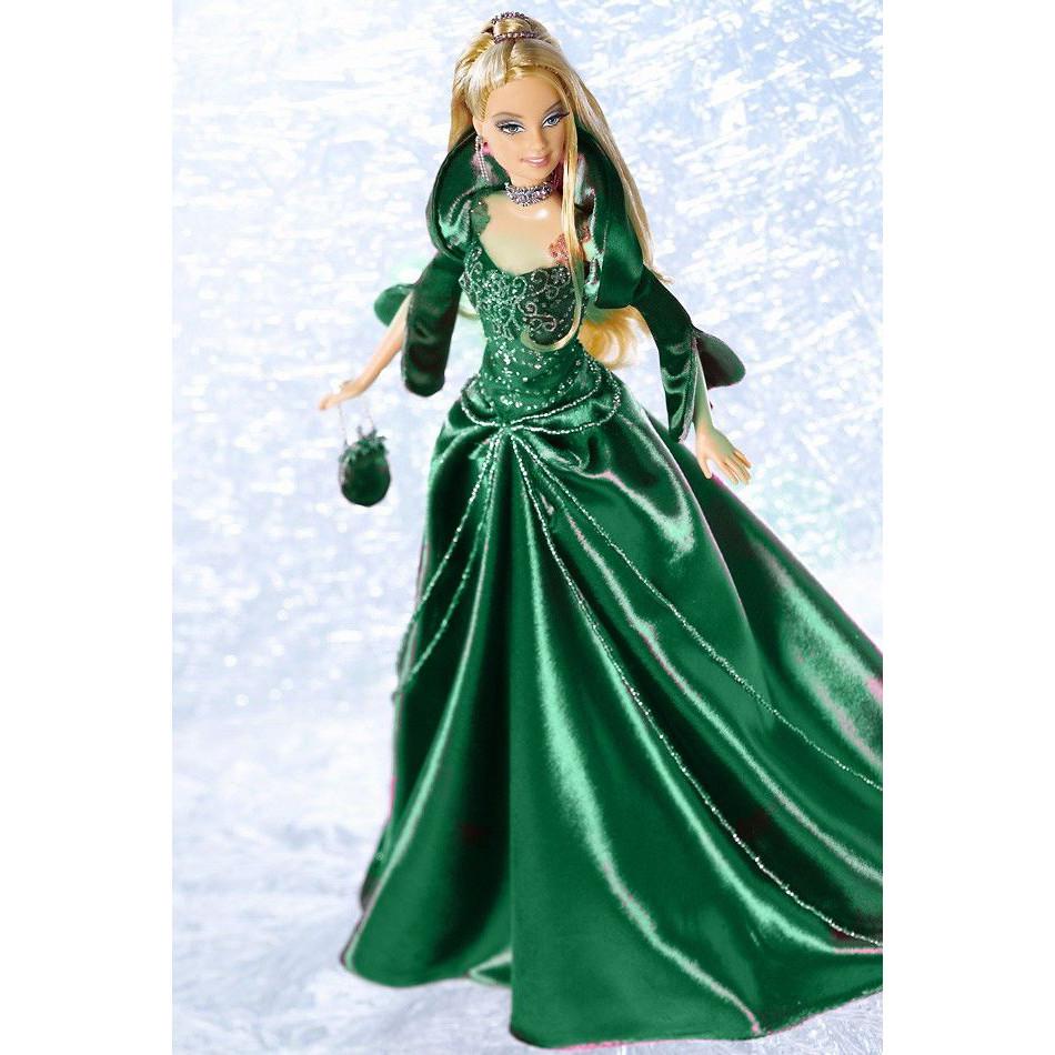 Barbie Коллекционная кукла Блондинка в зеленом платье - Праздничная 2004, Барби