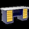 Верстак металлический двухтумбовый с тумбой и драйвером ВП-6Т
