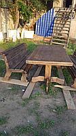 Стол с двумя скамьями (массив сосна брошированая)
