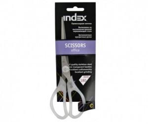 Ножницы INDEX 18 см, прозрачные пластиковые ручки