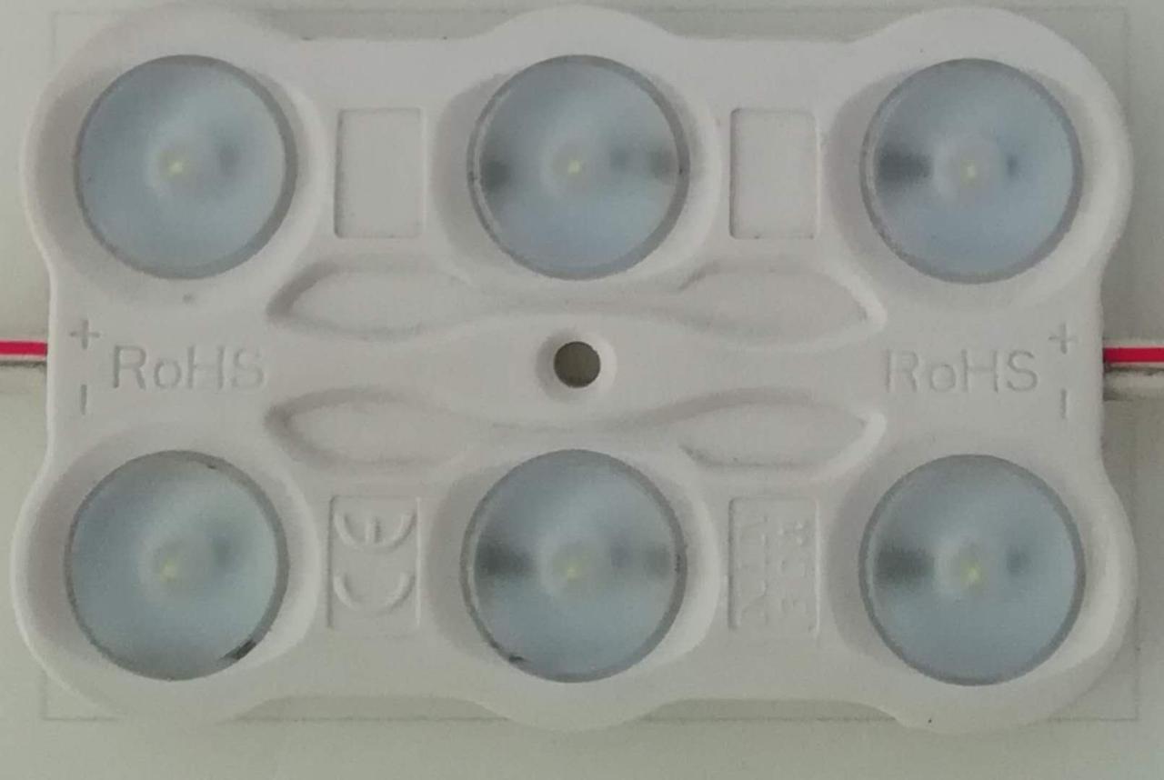 Шеститочечный (2835) с линзой и алюминиевым теплоотводом 3W (IP67) Белый