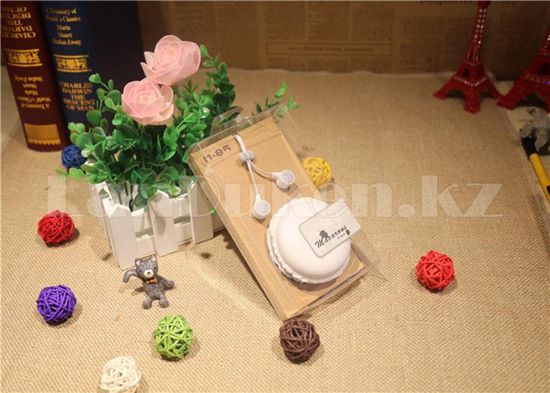 Вакуумные наушники в круглом чехле А-77 пирожное (макарун) - фото 4