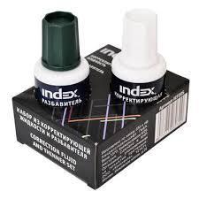 Корректирующая жидкость + разбавитель INDEX (набор), 2х20 мл