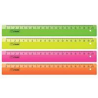 """Линейка СТАММ """"Neon"""" 20 см, 4 неоновых цвета"""