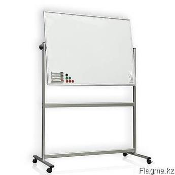 Доска 90*180 магнитно-маркерная, двухсторонняя, алюминиевая подставка, 4колеса.