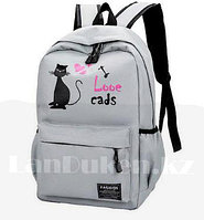 Ранец с пеналом лове с кошкой серый (I love cats)