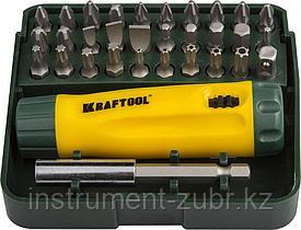 Набор KRAFTOOL Отвертка реверсивная с битами и адаптером, Cr-V, 32 предмета