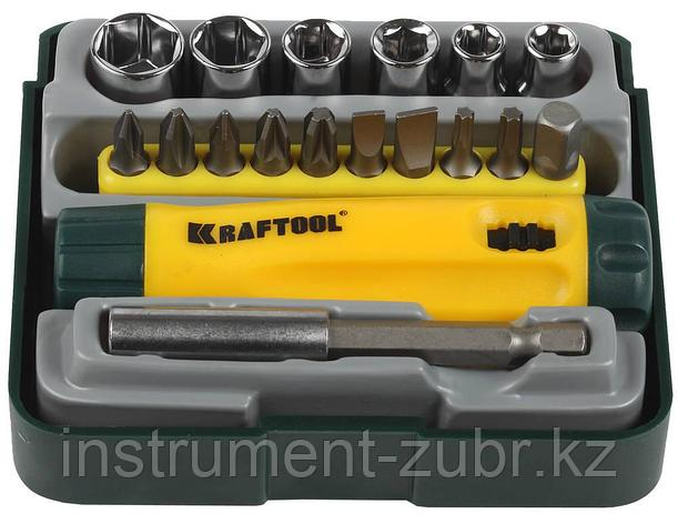 """Набор KRAFTOOL """"EXPERT"""": Отвертка реверсивная с битами, адаптером и торцовыми головками, Cr-V, 18 предметов, фото 2"""