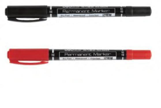 Маркер для CD/DVD DELI двухсторонний, 0,5-3 мм, красный