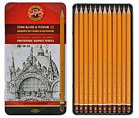 Набор карандашей чернографитных KOH-I-NOOR, 8B-2H, 12 штук в металлической коробке