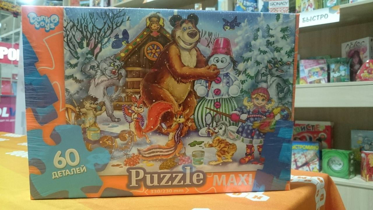 Пазлы 60 макси (16) Маша и медведь со снеговиком