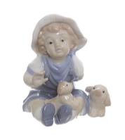 Фарфоровая статуэтка 11 см. Ребенок с щенком.