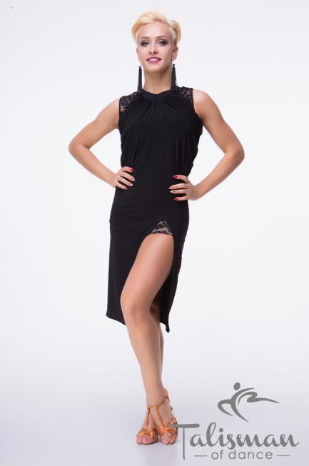 Элегантное черно платье танцевальное ПЛ-884
